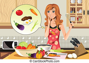 A vector illustration of a cooking woman preparing in the kitchen