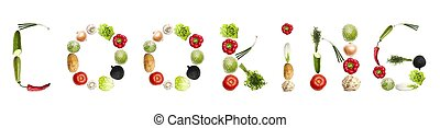 Cooking word made of different type of vegetables
