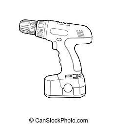 vector blsck outline cordless drill on white
