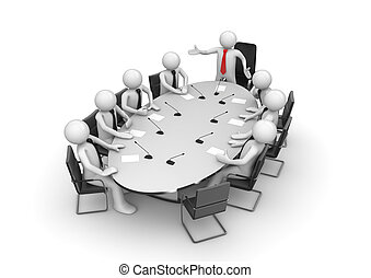 Corporate meeting in conference room (3d isolated characters, businessmen, business concepts series)