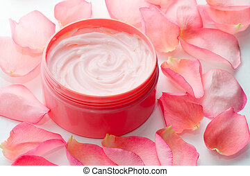 cosmetic cream against a background of bamboo