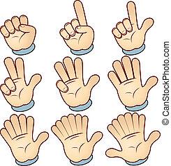 Counting Cartoon hand, vector illustration