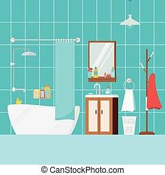 Cozy bathroom home interior with bath furniture.