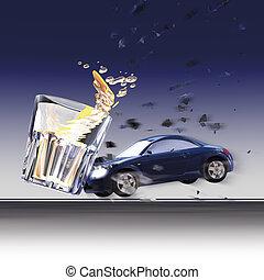 Crash cars and glass