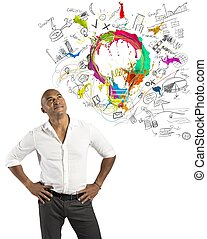 Concept of creative business with businessman and new idea