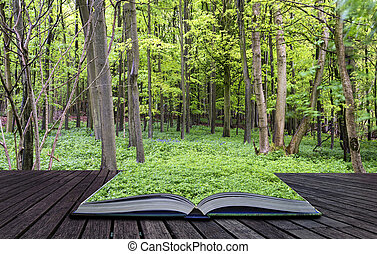 Creative concept pages of book Beautiful vibrant green growth in Spring forest landscape