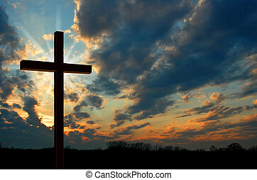 Cross and sunset