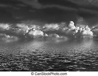 Cumulus Clouds Over Water