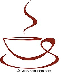 Vector stylized image of coffee cup on white background.