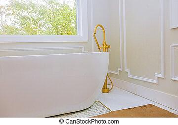 Custom with large soaking tub installing custom in master bathroom