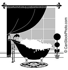 Cute Black and White Drawing of a Bubble Bath in a Vintage Claw-foot Tub
