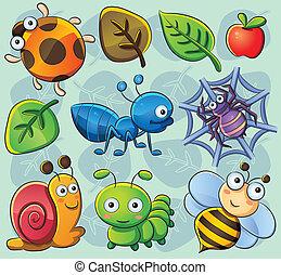 cartoon illustration of various cute bugs