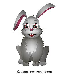 Cute cartoon Easter rabbit isolated on the white background. Flat style.