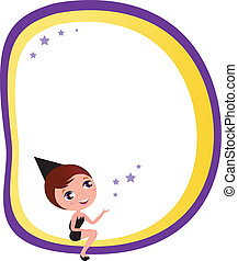 Cute Halloween Witch and blank Banner isolated on white