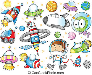 Cute Outer Space Spaceships and Astronaut Vector Set
