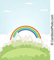 cutout mountain landscape with rainbow.