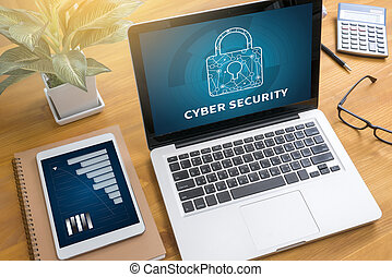 CYBER SECURITY Business, technology, internet and networking concept. Young businessman working on his laptop