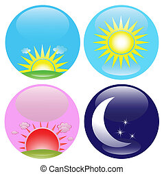 Glossy buttons with day, night, sunrise and sunset icons, eps8