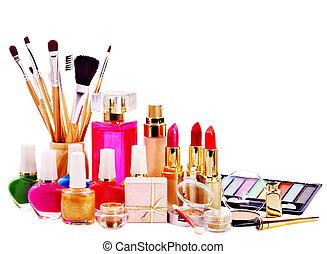 Decorative cosmetics and perfume. Isolated.
