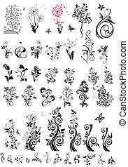 Decorative floral design elements (