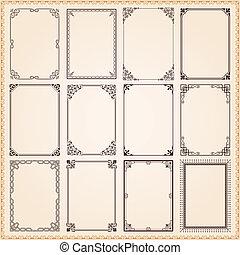 Decorative frames and borders set