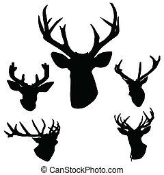 deer antlers silhouette art vector illustration on white