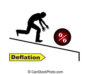 Humorous concept sign of sinking interest rates when people running after their money