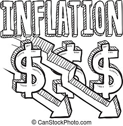 Doodle style deflation or inflation decreasing illustration in vector format. Includes title text, along with down arrows and dollar signs.