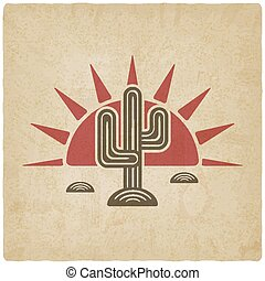 Desert cactus at sunset old background - vector illustration. eps 10