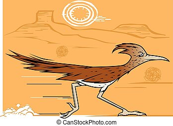 A bird racing through the dry southwest