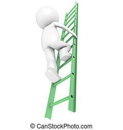 3D Little Human Character Climbing on a Green Ladder