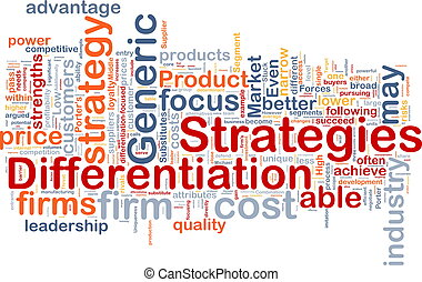 Background concept wordcloud illustration of business differentiation strategies
