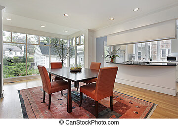 Dining room with wall of windows