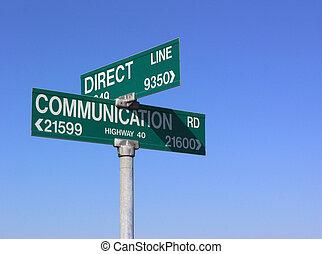 Direct communication sign, against blue sky