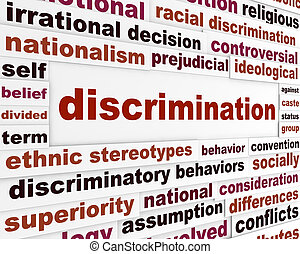 Discrimination social issue concept. Human differences message design