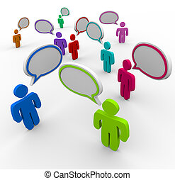 Many people talking at the same time in disorganized, confused communication