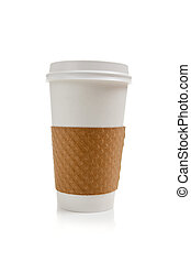 A disposable coffee cup on a white background