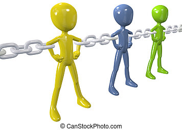 Strong chain links connect and unite a group of diverse people together