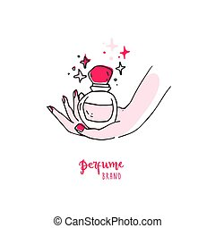 Doodle simple hand with perfume bottle. Good for logo