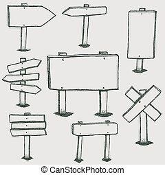 Illustration of a set of hand drawn sketched design wood panels and road signs