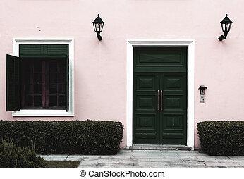 Door and opened window, low saturation