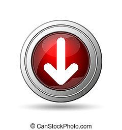 Down arrow icon. Internet button on white background.