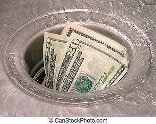 Money in a garbage disposal with water running.