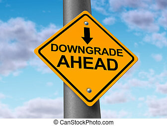 Downgrade symbol represented by a traffic sign warning that there will be bad news for a company that will result in a lower price for the value of the declining stock.