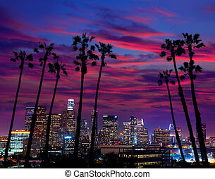 Downtown LA night Los Angeles sunset colorful skyline California