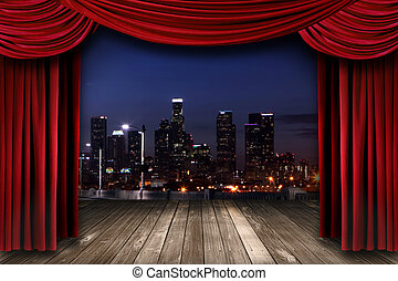 Dramatic Theater Stage Curtain Drapes With a Night City as a Backdrop