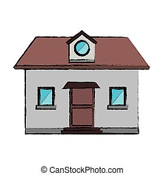 drawing front view home window loft