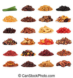 Large collection of dried and candied fruit for snacks and culinary use, isolated over white background.