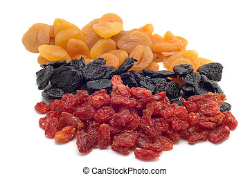 dried fruits on white