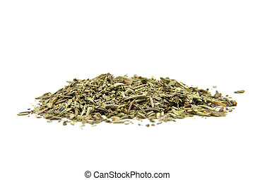 Dried mixed herbs on white